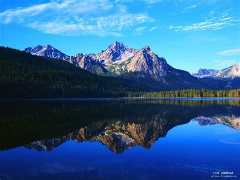 mountain lake reflection landscape wallpapers  view