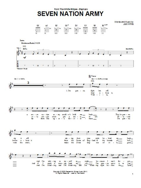 drum tutorial seven nation army seven nation army by the white stripes guitar tab