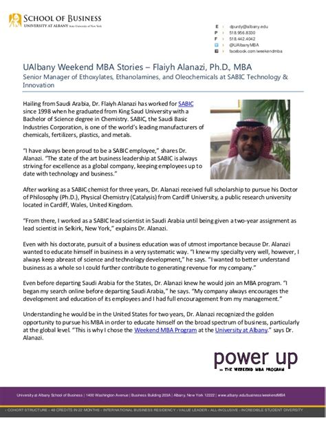 Mba Degree Weekends In Usa by Ualbany Weekend Mba Stories Flaiyh Alanazi