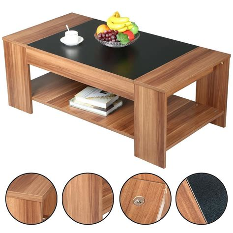 modern 2 tier wooden coffee tea table living room cocktail