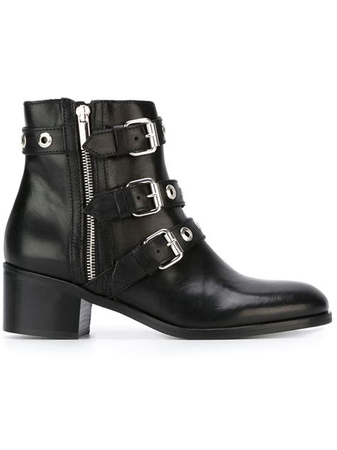 diesel black gold buckled leather ankle boots in black lyst