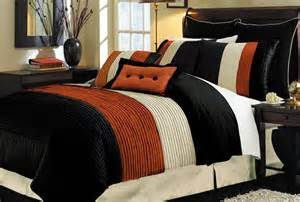 new 8p queen milano black brick orange comforter set