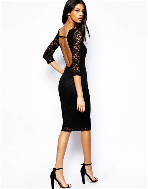17769 Lace Low Back lyst asos low back lace midi bodyconscious dress in black