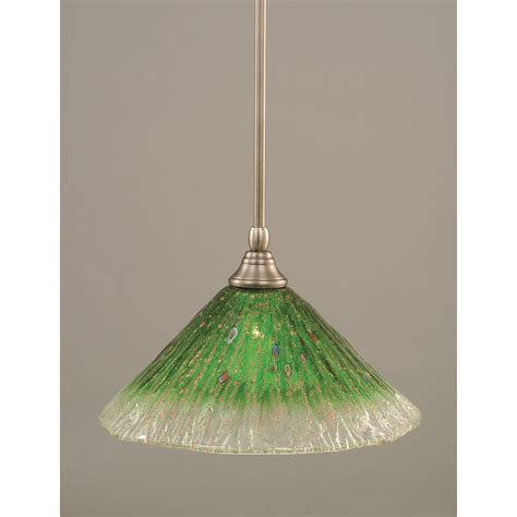 Brushed Nickel One Light Mini Pendant With Kiwi Green Green Pendant Lighting