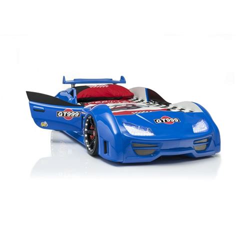 blue car bed gt999 children s car bed in blue with spoiler and led on
