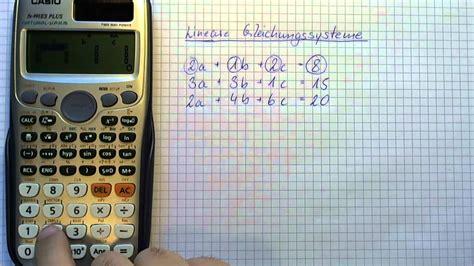 tutorial casio fx 991es casio taschenrechner fx 991es lineare gleichungssysteme