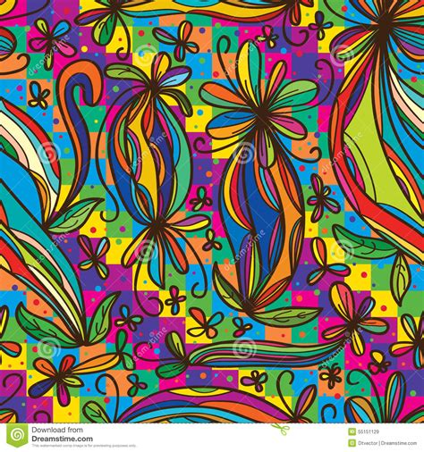 wallpaper flower draw flower curl draw rainbow colorful seamless pattern stock