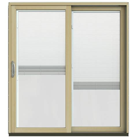 Jeld Wen Sliding Patio Doors With Blinds Jeld Wen 71 1 4 In X 79 1 2 In W 2500 Chocolate Prehung Right Clad Wood Sliding
