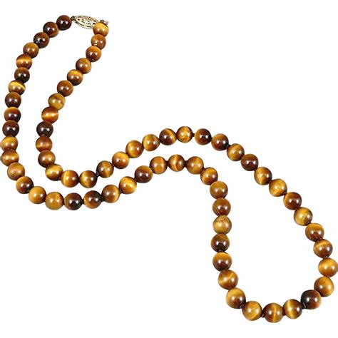 tigers eye bead necklace with 14k gold clasp sold on ruby