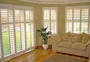 Vinyl Plantation Shutters Large Window Blinds Living Room Layout With Bay Window