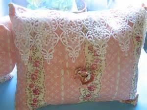 pink beige lace decorative pillow shabby chic style by
