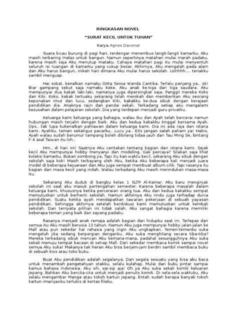 Ringkasan Novel Surat Kecil Untuk Tuhan