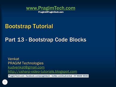 Bootstrap Tutorial Presentation | sql server net and c video tutorial bootstrap code blocks