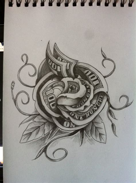 money rose tattoo design money by martie13 on deviantart