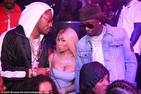young thug yellow eyes nicki minaj parties with future in a blue corset and heels