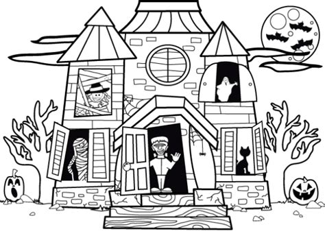 halloween house coloring page haunted house drawings holidays and observances