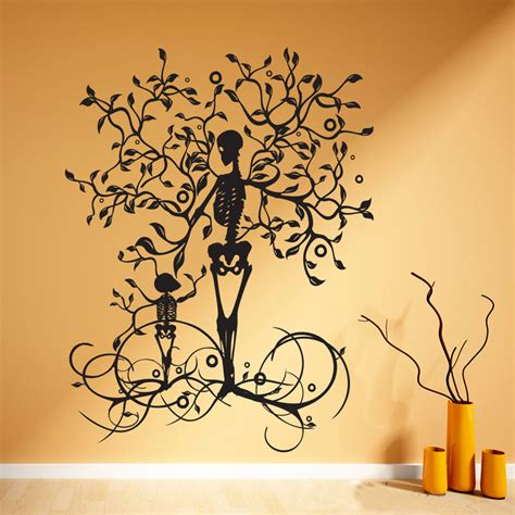 halloween decoration skeleton tree wall decal vinyl tree