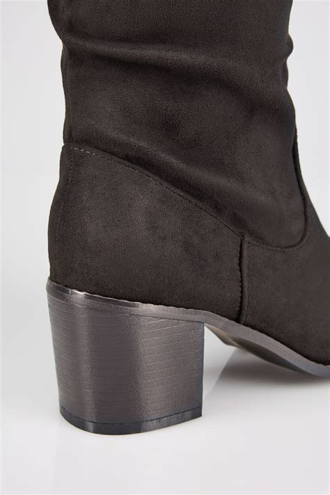 Check Balance Boots Gift Card - black ruched knee high block heel boots with xl calf fitting in true eee fit sizes