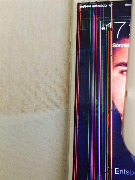 iphone  ist runter gefallen display hopps aber da sind farbige streifen woran liegt es und