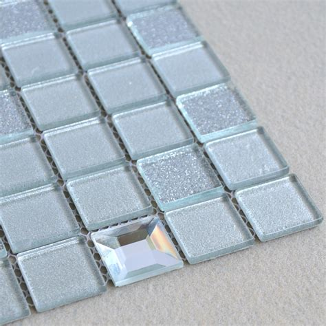 wholesale grey crystal glass mosaic tiles washroom backsplash plated design bathroom wall floor