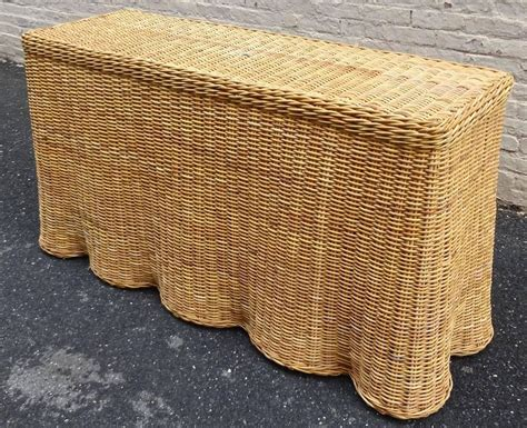 Wicker Table L Chic Trompe L Oeil Draped Wicker Console Table 1970s At 1stdibs
