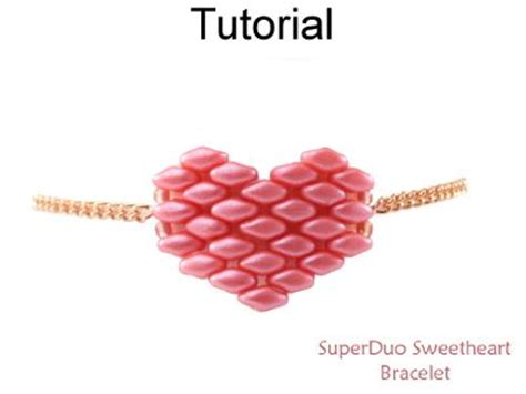 Beaded Superduo 2 Hole Bead Valentines Heart Chain   4282 best images about simple bead patterns on pinterest
