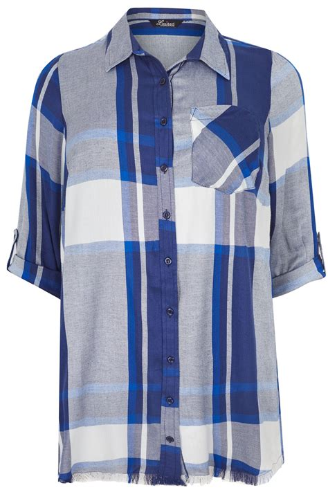 Dm Hem Junfy Blue limited collection blue checked shirt with frayed hem roll up sleeves plus size 16 to 36