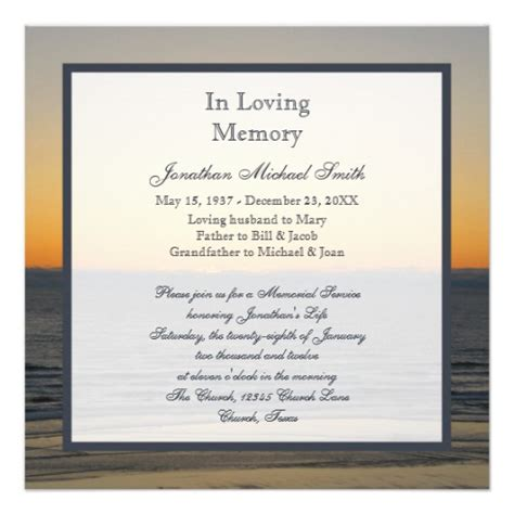 invitation to a memorial service myideasbedroom com