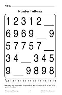 numbers pattern recognition easy preschool patterns worksheet 1 busy bags and