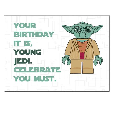 Printable Lego Star Wars Birthday Cards | items similar to lego star wars yoda birthday card on etsy