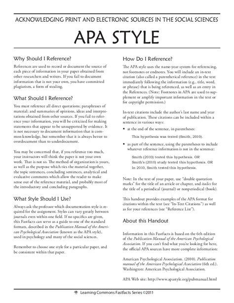 Apa Style Apa Style Format Template