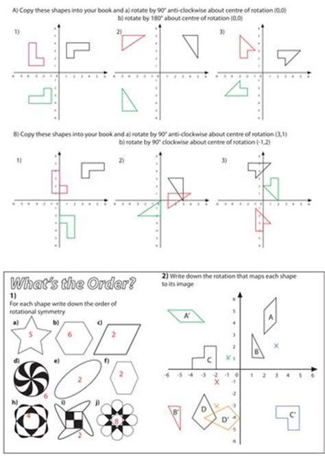 Reflection And Rotation Worksheet by Rotation Worksheet Maths Middle School