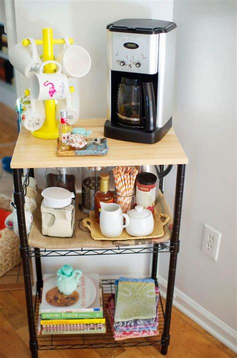 Kitchen Cart Coffee Station Coffee Stations Microwave Cart And Coffee On