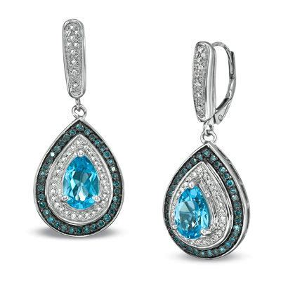Blue Topaz Memo C 029 pear shaped blue topaz and 1 2 ct t w enhanced blue and