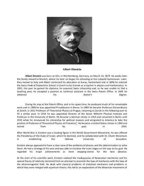 biography about albert einstein biography albert einstein