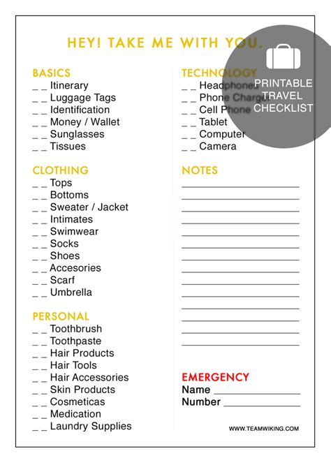 printable travel checklist printable travel checklist hej doll simple modern