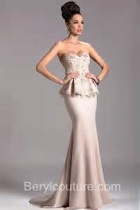 Sweetheart chiffon lace peplum formal occasion mob long evening dress