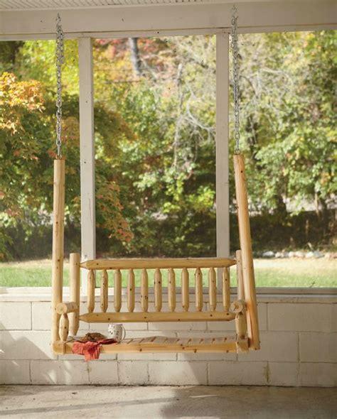 log porch swings log porch swing comfortably seats two backyard furniture