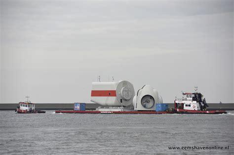 sleepboot onderdelen sleep met windturbine onderdelen onderweg naar emden