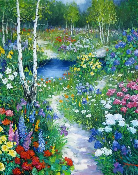 Flower Garden Painting Amoreternal Tinyan Chan Paintings