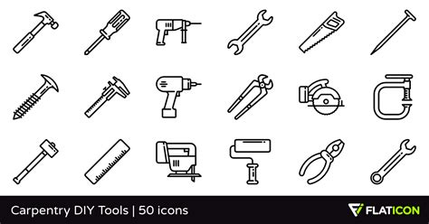 vector icons  carpentry diy tools designed