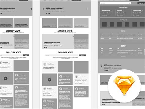 intranet website wireframe sketch freebie   resource  sketch sketch app sources