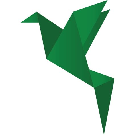Origami Png - bird green v2 icon origami birds icons softicons