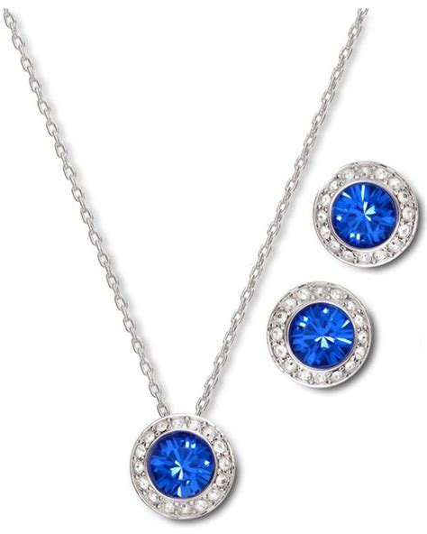 swarovski angelic sapphire earrings and pendant set in