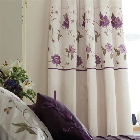 purple and cream curtains cream purple floral duvet or curtains or bedspread ebay