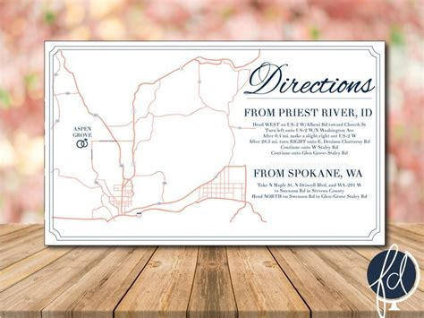 printable directions for invitations directions card custom wedding map details card