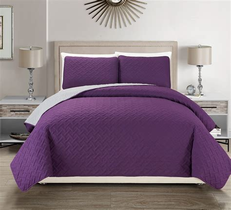 purple coverlet embossed purple reversible bedspread quilt set
