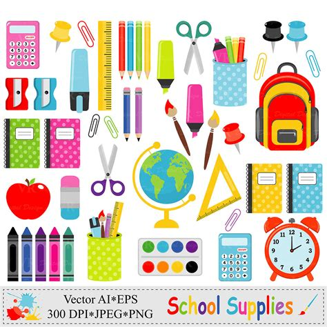 clipart school school supplies clip back to school graphics stationery
