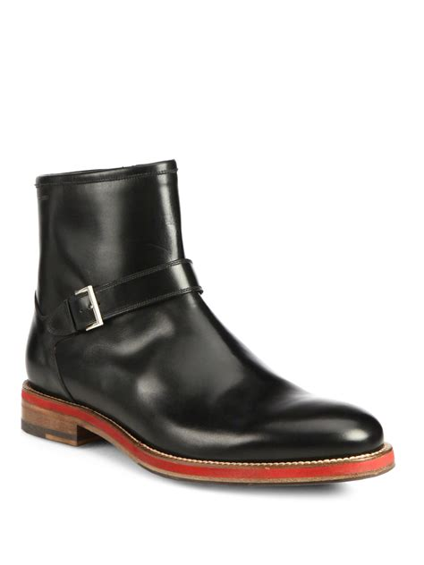 bally boots bally leather ankle boots in black for lyst