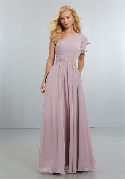 Sleeve Chiffon Dress chiffon bridesmaids dress with one shoulder flounced